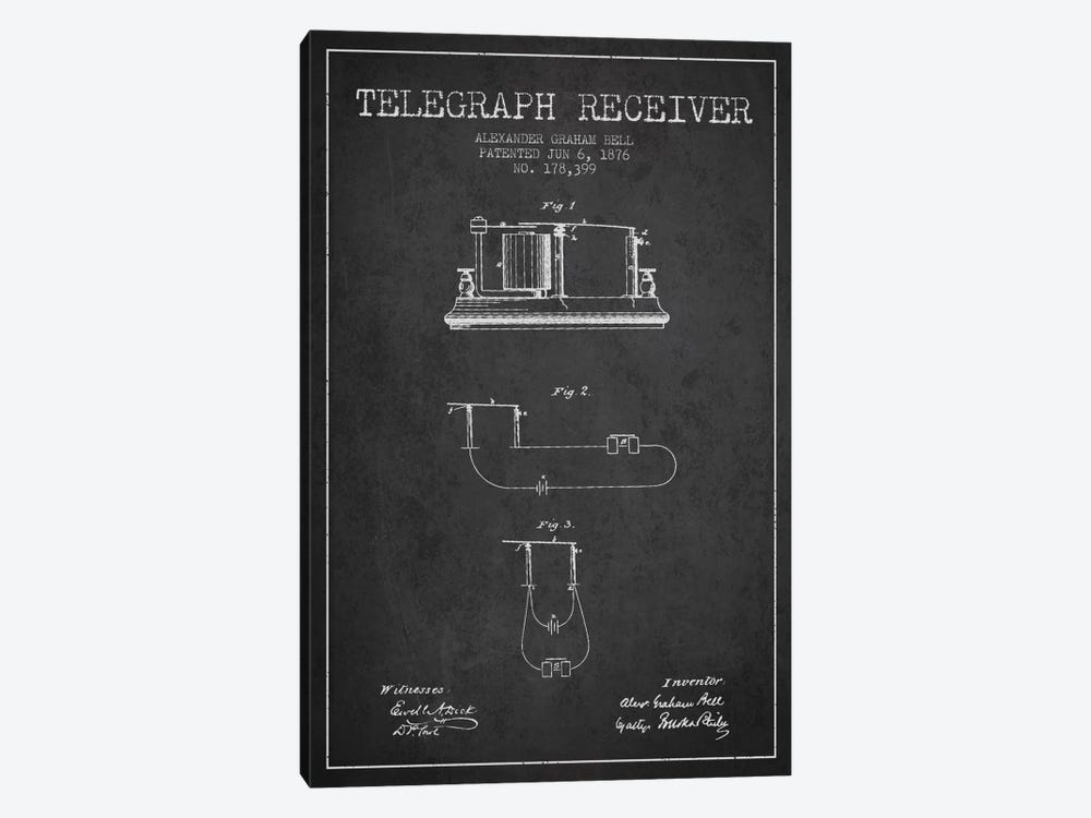 Telegraph Receiver Charcoal Patent Blueprint by Aged Pixel 1-piece Art Print