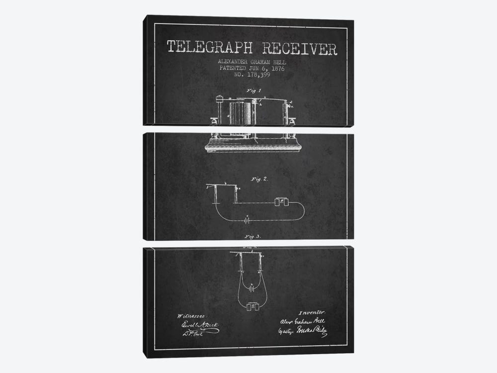 Telegraph Receiver Charcoal Patent Blueprint by Aged Pixel 3-piece Canvas Print