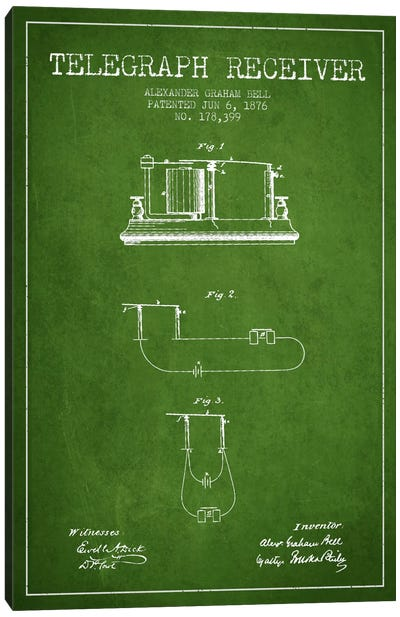 Telegraph Receiver Green Patent Blueprint Canvas Art Print