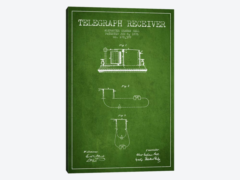 Telegraph Receiver Green Patent Blueprint by Aged Pixel 1-piece Canvas Art
