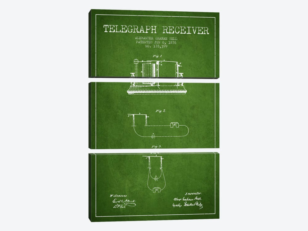 Telegraph Receiver Green Patent Blueprint by Aged Pixel 3-piece Canvas Artwork