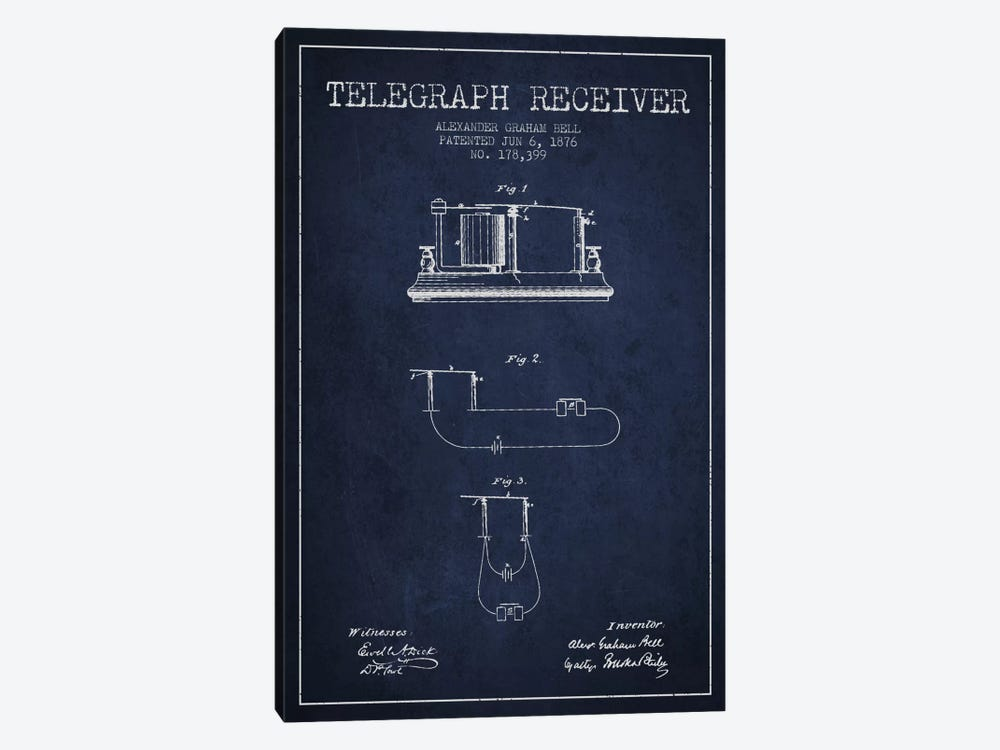 Telegraph Receiver Navy Blue Patent Blueprint by Aged Pixel 1-piece Canvas Print