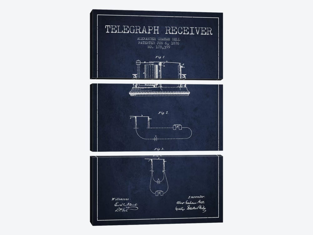 Telegraph Receiver Navy Blue Patent Blueprint by Aged Pixel 3-piece Canvas Print