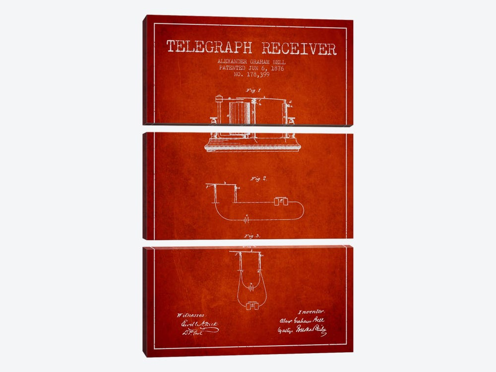 Telegraph Receiver Red Patent Blueprint by Aged Pixel 3-piece Canvas Artwork