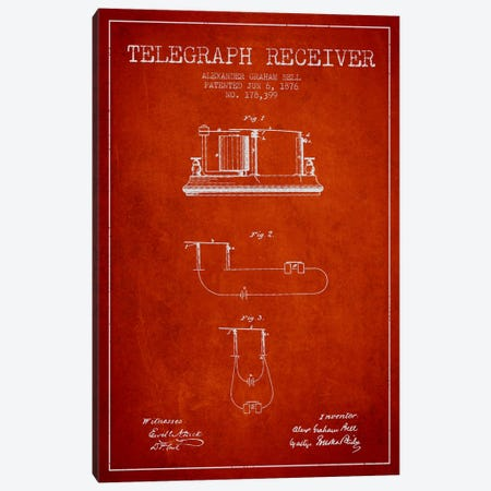 Telegraph Receiver Red Patent Blueprint Canvas Print #ADP479} by Aged Pixel Canvas Wall Art