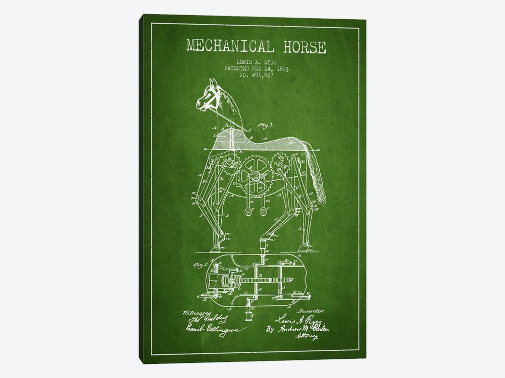 Mechanical Horse Green Patent Blueprint by Aged Pixel 1-piece Canvas Art