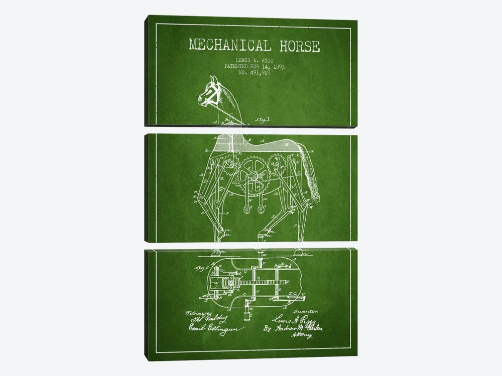 Mechanical Horse Green Patent Blueprint by Aged Pixel 3-piece Canvas Wall Art