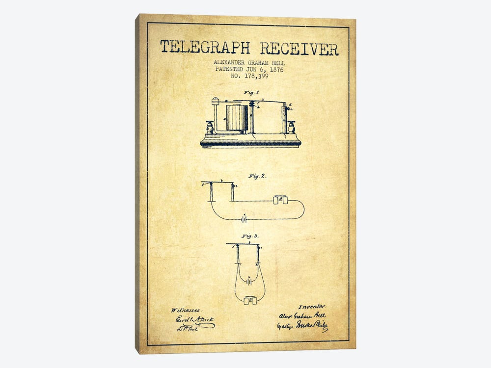 Telegraph Receiver Vintage Patent Blueprint by Aged Pixel 1-piece Canvas Artwork