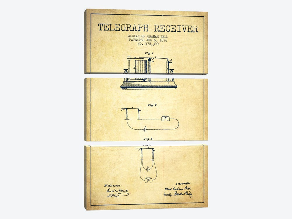 Telegraph Receiver Vintage Patent Blueprint by Aged Pixel 3-piece Canvas Art