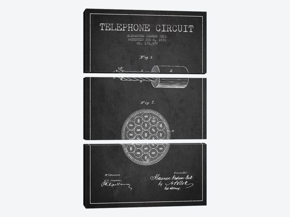 Telephone Circuit Charcoal Patent Blueprint by Aged Pixel 3-piece Canvas Print