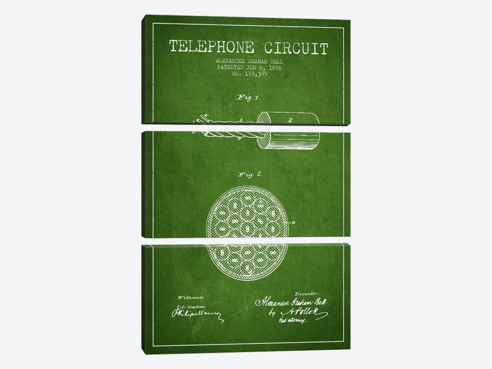 Telephone Circuit Green Patent Blueprint by Aged Pixel 3-piece Canvas Wall Art
