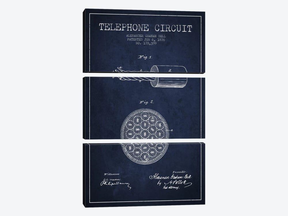 Telephone Circuit Navy Blue Patent Blueprint by Aged Pixel 3-piece Canvas Print