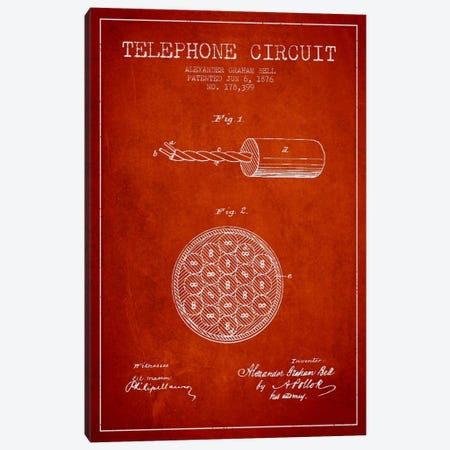 Telephone Circuit Red Patent Blueprint Canvas Print #ADP484} by Aged Pixel Canvas Artwork