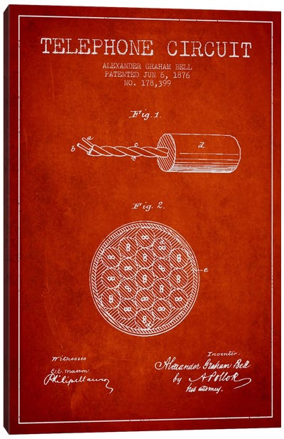Telephone Circuit Red Patent Blueprint Canvas Art Print