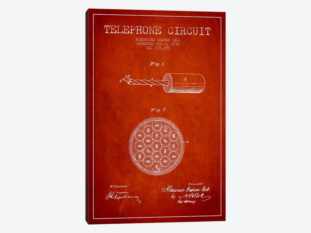 Telephone Circuit Red Patent Blueprint by Aged Pixel 1-piece Canvas Artwork
