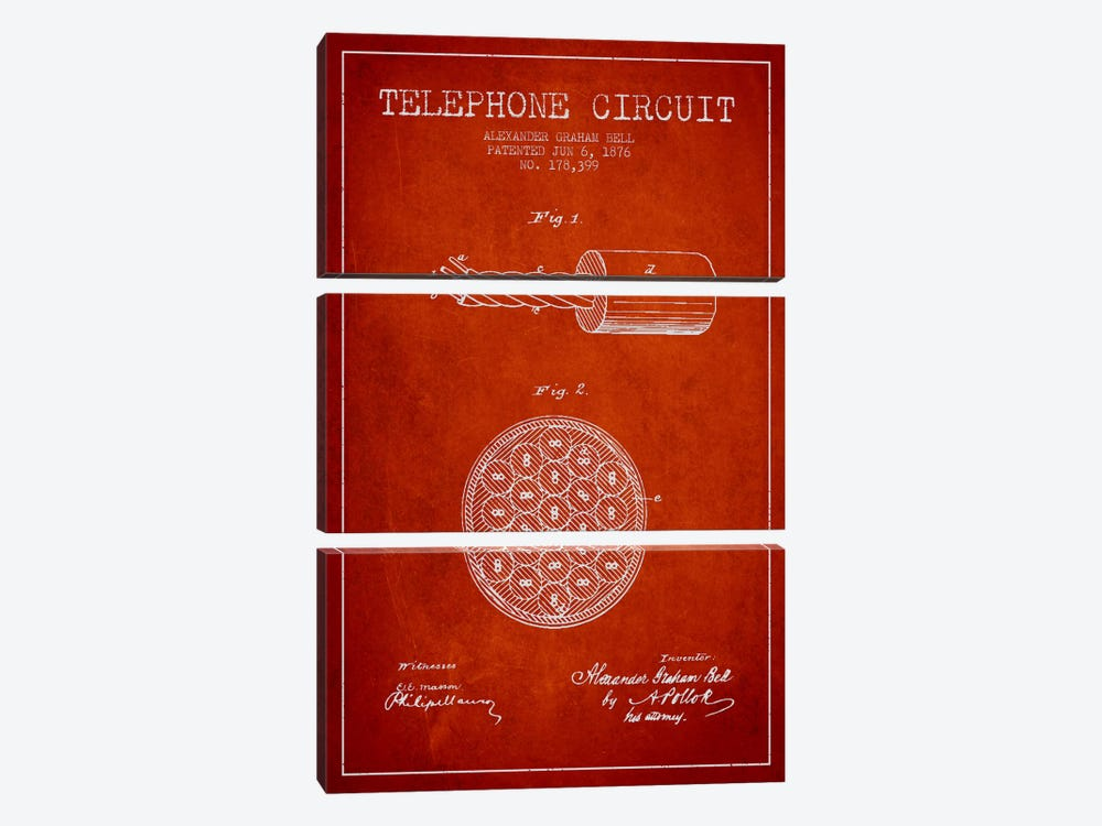 Telephone Circuit Red Patent Blueprint 3-piece Canvas Wall Art