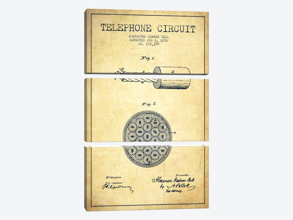Telephone Circuit Vintage Patent Blueprint by Aged Pixel 3-piece Canvas Print