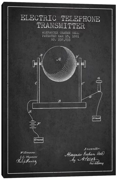 Telephone Transmitter Charcoal Patent Blueprint Canvas Art Print