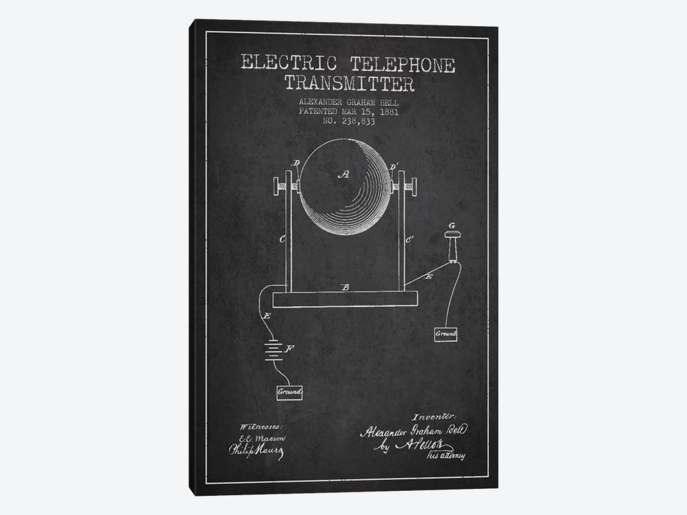 Telephone Transmitter Charcoal Patent Blueprint by Aged Pixel 1-piece Canvas Artwork