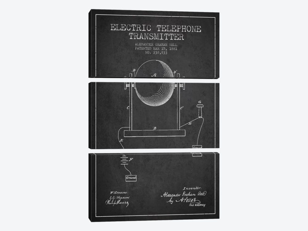 Telephone Transmitter Charcoal Patent Blueprint by Aged Pixel 3-piece Canvas Wall Art