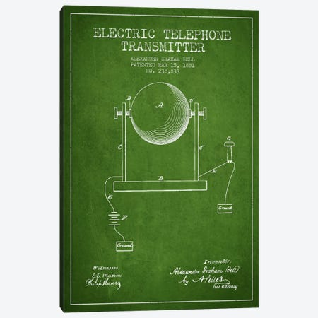 Telephone Transmitter Green Patent Blueprint Canvas Print #ADP487} by Aged Pixel Canvas Artwork