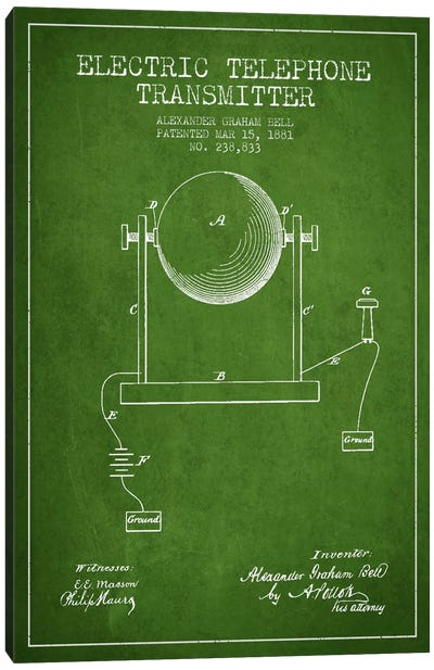 Telephone Transmitter Green Patent Blueprint Canvas Art Print
