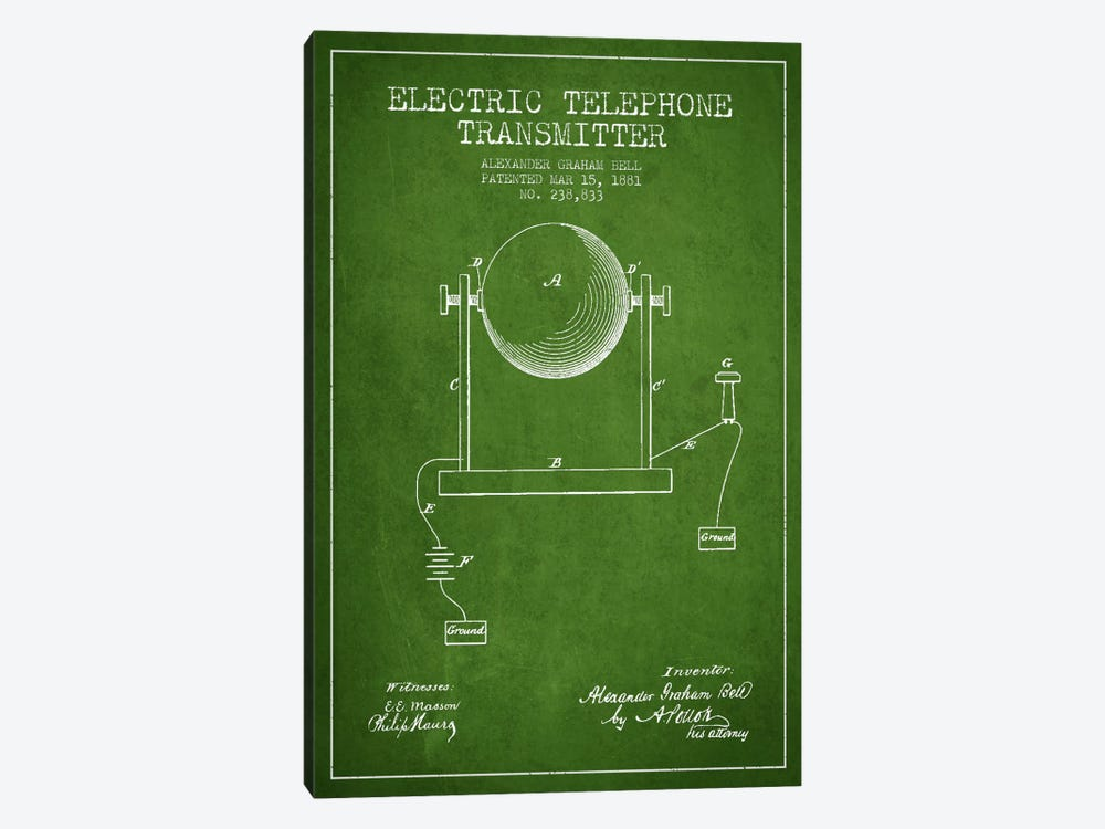 Telephone Transmitter Green Patent Blueprint by Aged Pixel 1-piece Canvas Print