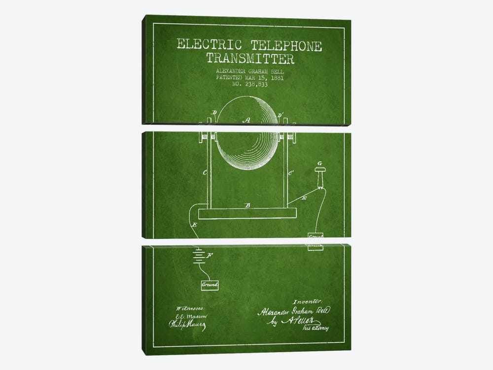 Telephone Transmitter Green Patent Blueprint by Aged Pixel 3-piece Canvas Art Print