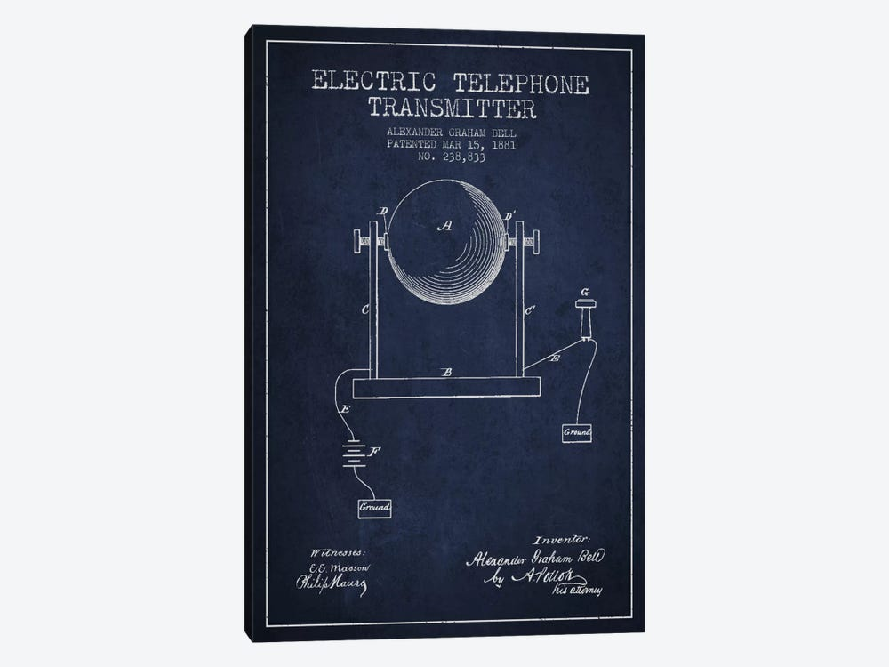 Telephone Transmitter Navy Blue Patent Blueprint 1-piece Canvas Artwork