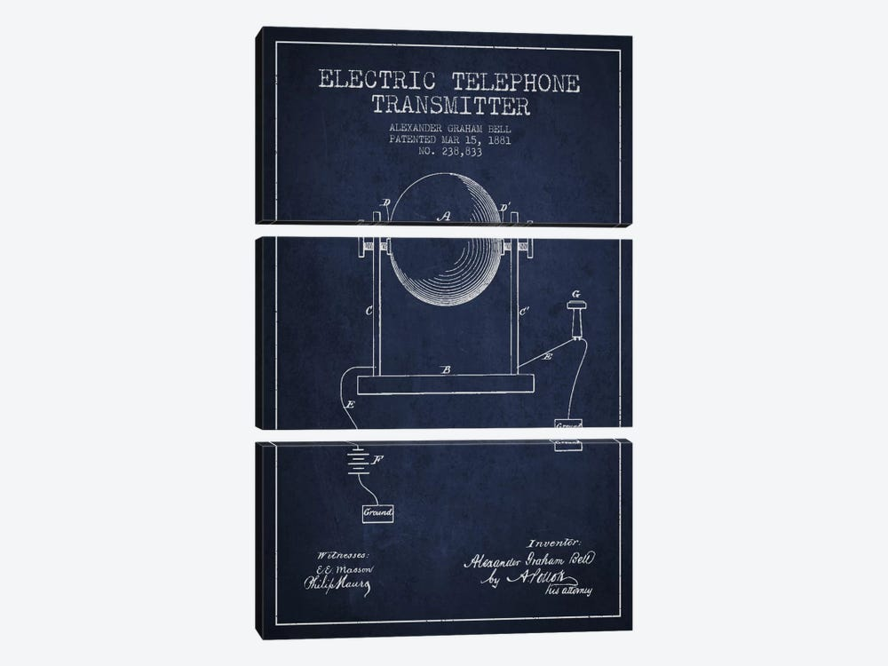Telephone Transmitter Navy Blue Patent Blueprint by Aged Pixel 3-piece Canvas Artwork