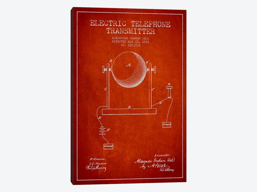 Telephone Transmitter Red Patent Blueprint by Aged Pixel 1-piece Canvas Print