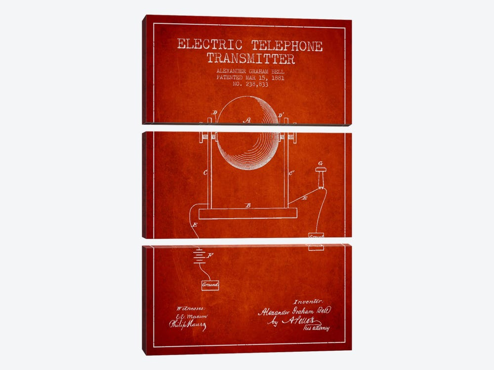 Telephone Transmitter Red Patent Blueprint 3-piece Canvas Art Print