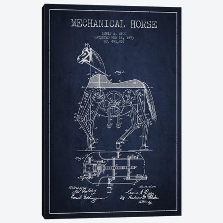 Mechanical Horse Navy Blue Patent Blueprint Canvas Print #ADP48} by Aged Pixel Canvas Artwork