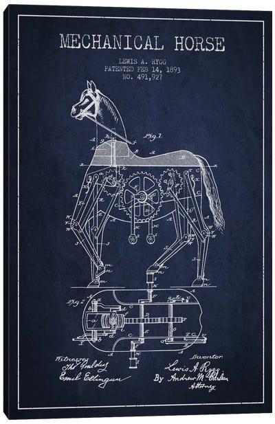 Mechanical Horse Navy Blue Patent Blueprint Canvas Print #ADP48