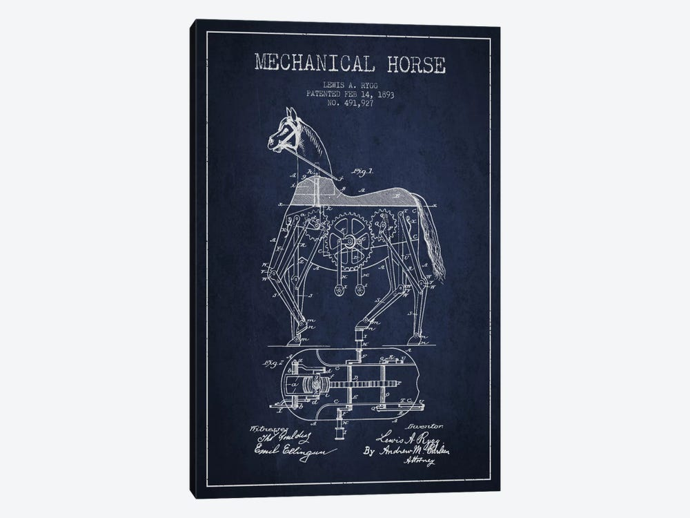 Mechanical Horse Navy Blue Patent Blueprint by Aged Pixel 1-piece Canvas Print