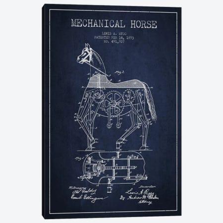 Mechanical Horse Navy Blue Patent Blueprint Canvas Print #ADP48} by Aged Pixel Canvas Artwork