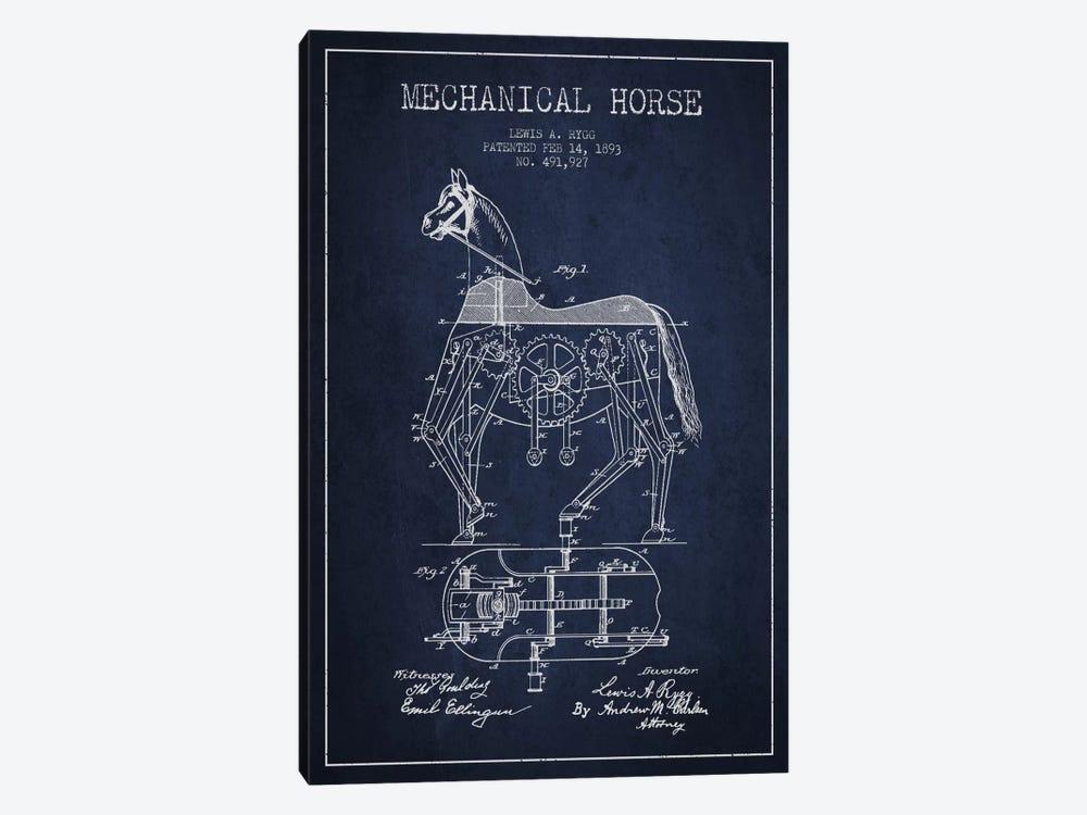 Mechanical Horse Navy Blue Patent Blueprint by Aged Pixel 1-piece Canvas Print