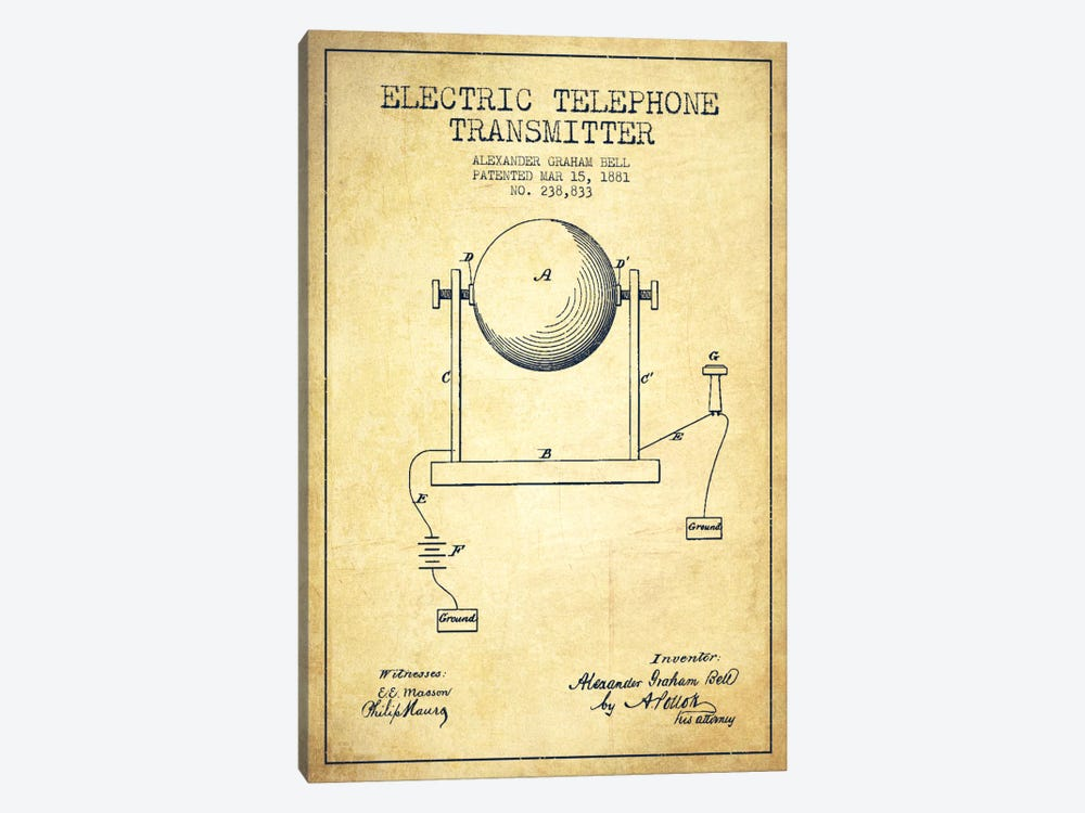 Telephone Transmitter Vintage Patent Blueprint by Aged Pixel 1-piece Canvas Art Print