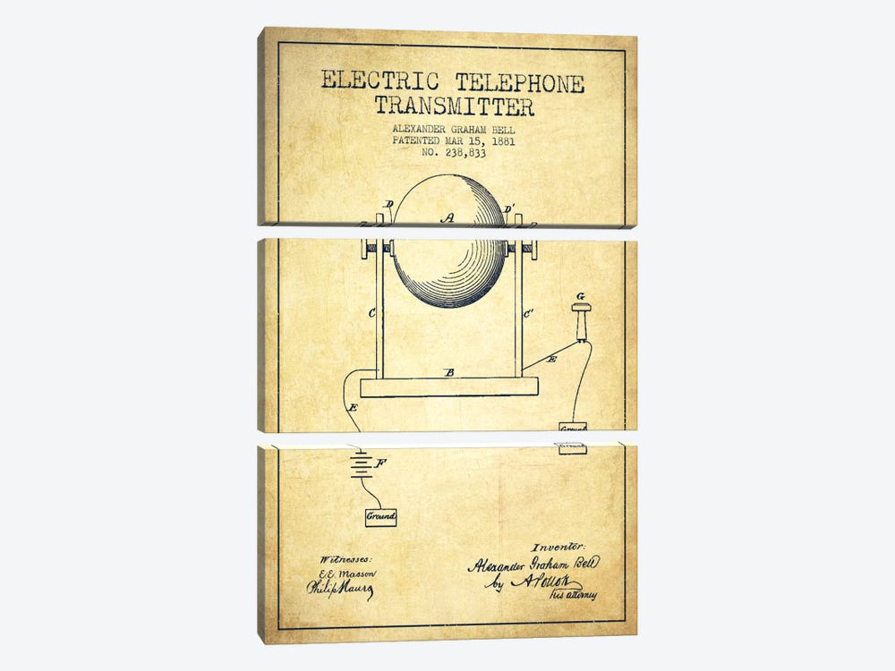 Telephone Transmitter Vintage Patent Blueprint by Aged Pixel 3-piece Canvas Print