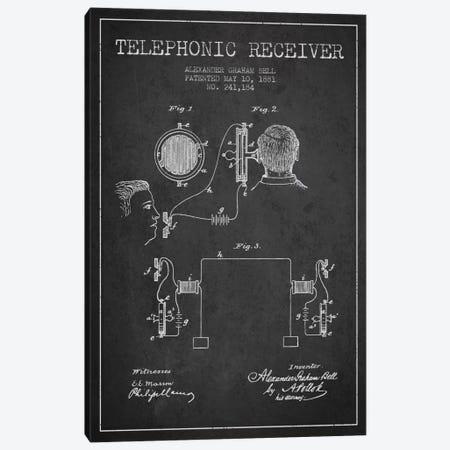 Telephonic Receiver Charcoal Patent Blueprint Canvas Print #ADP491} by Aged Pixel Canvas Wall Art