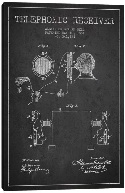 Telephonic Receiver Charcoal Patent Blueprint Canvas Art Print