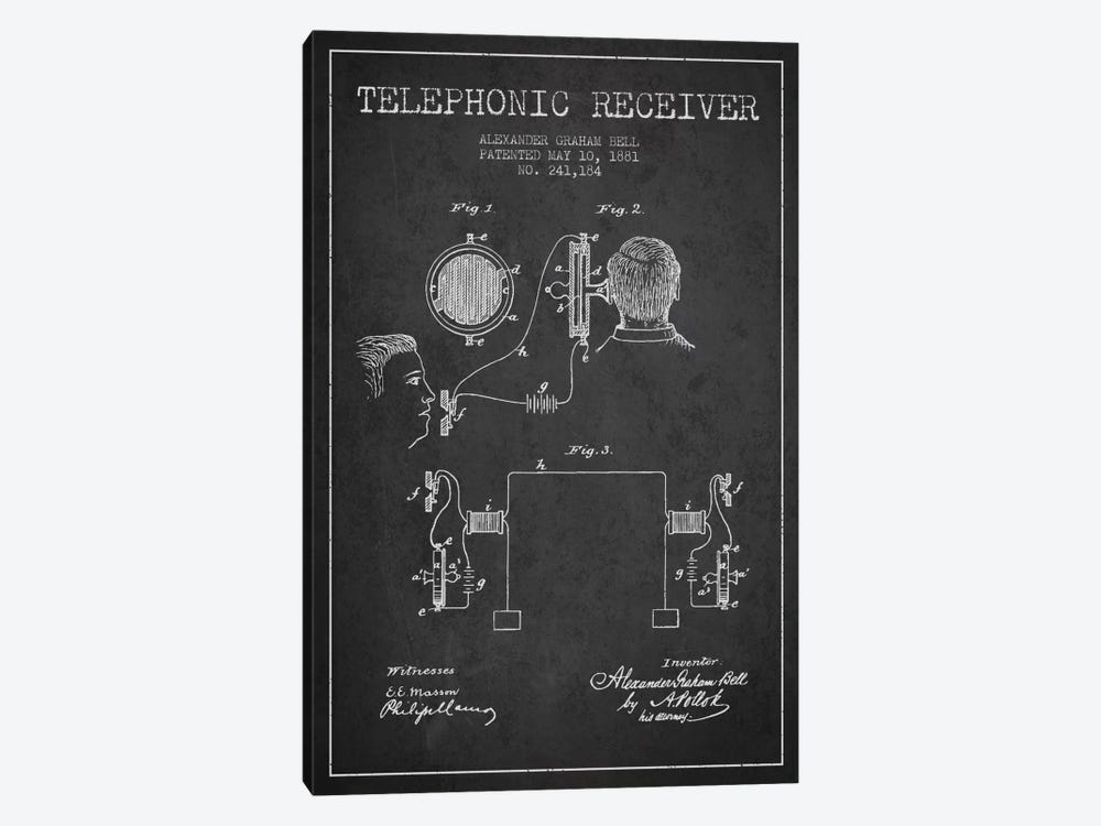 Telephonic Receiver Charcoal Patent Blueprint by Aged Pixel 1-piece Canvas Artwork