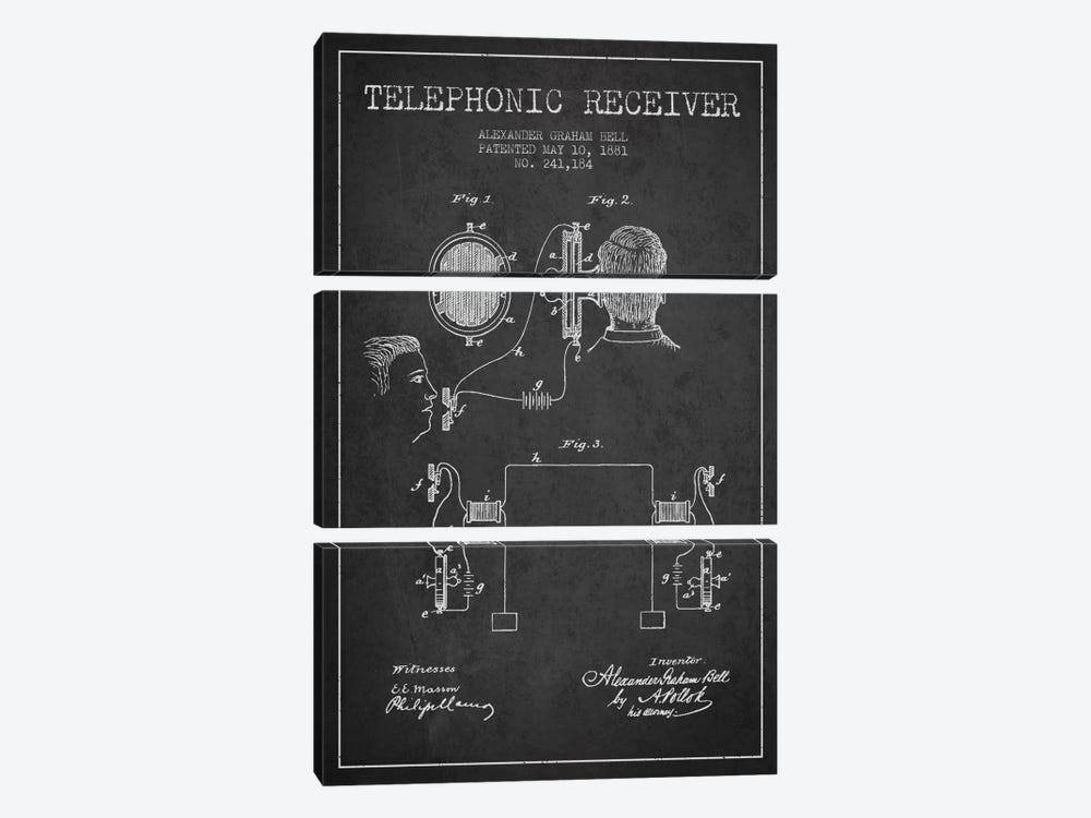 Telephonic Receiver Charcoal Patent Blueprint by Aged Pixel 3-piece Canvas Artwork