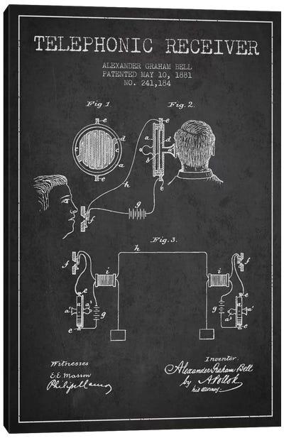 Telephonic Receiver Charcoal Patent Blueprint Canvas Art Print