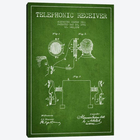 Telephonic Receiver Green Patent Blueprint Canvas Print #ADP492} by Aged Pixel Canvas Wall Art