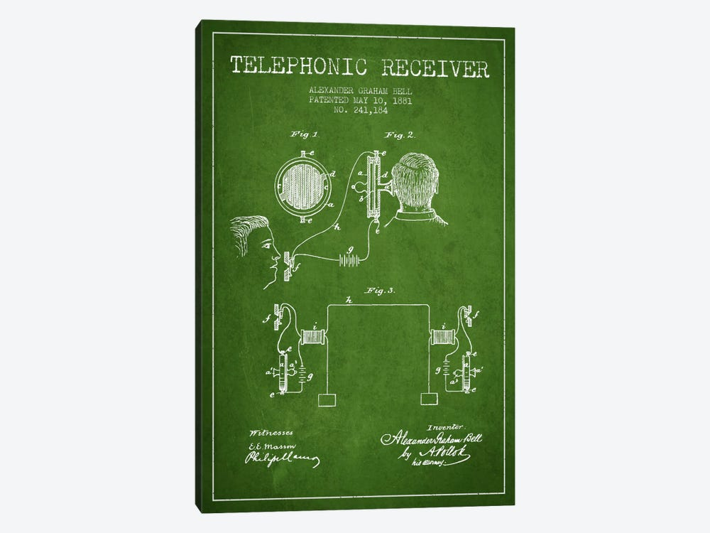 Telephonic Receiver Green Patent Blueprint by Aged Pixel 1-piece Art Print