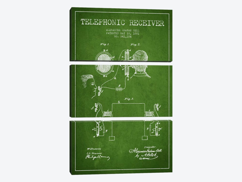 Telephonic Receiver Green Patent Blueprint by Aged Pixel 3-piece Canvas Art Print