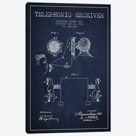 Telephonic Receiver Navy Blue Patent Blueprint Canvas Print #ADP493} by Aged Pixel Canvas Artwork