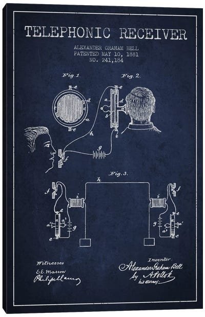 Telephonic Receiver Navy Blue Patent Blueprint Canvas Art Print