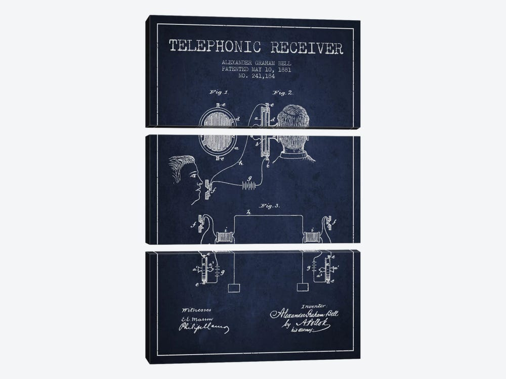 Telephonic Receiver Navy Blue Patent Blueprint by Aged Pixel 3-piece Canvas Art